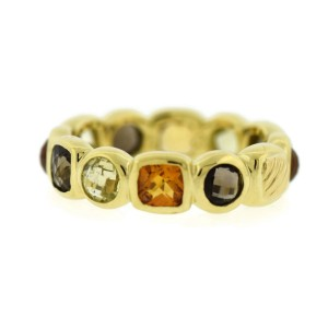 David Yurman 18K Yellow Gold 12 Gemstones Chiclet Ring Size 6.25