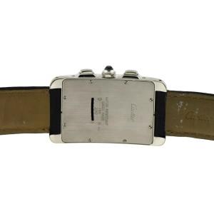 Cartier Tank Americaine 2312 18K White Gold & Leather Quartz 27mm Mens Watch