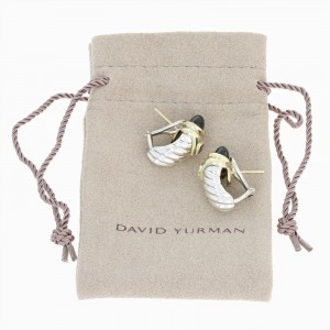 David Yurman 14K Yellow Gold and Sterling Silver with Onyx and Tourmaline Renaissance Shrimp Earrings