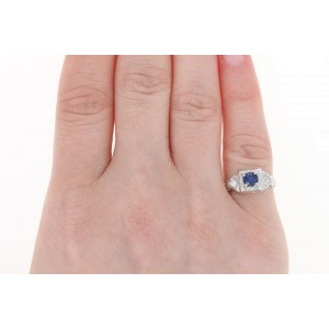 18K White Gold Sapphire, Diamond Engagement Ring Size 4.25