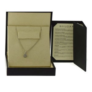 Bulgari 18K White Gold Diamond Pendant Necklace