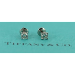 Tiffany & Co 0.68 CTW G/VS2 Diamond Platinum Stud Earrings
