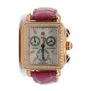 Michele Deco Diamond Chronograph Rose Gold/Stainless Steel Watch MW06P01B4046
