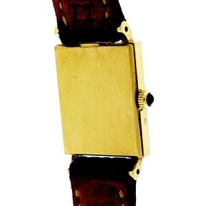 Baume & Mercier Ladies Gold Tank Strap Watch Vivid Red Dial