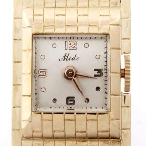 Vintage Retro 1940 Mido Pin Watch 17 Jewels 14k Yellow Gold Ruby