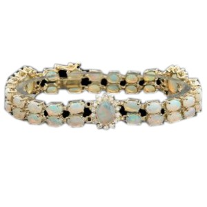 14K Yellow Gold Opal and Diamond Bracelet