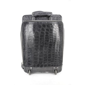 Alfredo Beretta Alfredo Beretta Black Crocodile Suitcase Trolley Rolling Luggage 396be
