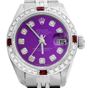 Rolex Lady Datejust Oyster Perpetual Stainless Steel Purple Diamond/Ruby Watch
