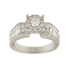 14K White Gold with 1.63ct Diamonds Engagement Ring Size 7