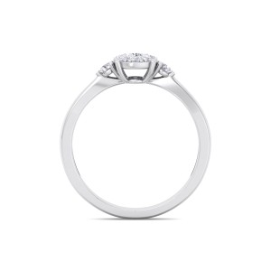 GLAM ® Halo Engagement Ring with Sidestones in 14K Gold and  0.33ct Diamonds