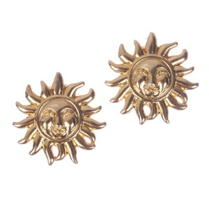Versace Gold Tone Metal Clip on Earrings