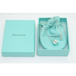 Tiffany & Co. Sterling Silver Blue Enamel Gift Box Charm Pendant Necklace