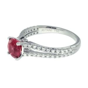 Ritani 18K White Gold Rhodolite Garnet .24ctw Diamond Ring Size 6.5