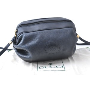 GUCCI Shoulder Bag Leather Navy