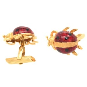 18k Yellow Gold Ladybug Enamel Cufflinks