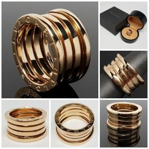 Bulgari 18K Yellow Gold B Zero 3 Band Ring Size Medium