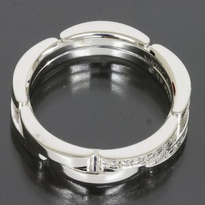Cartier 18K White Gold Mailon Panthere Diamond Ring Size 5.75