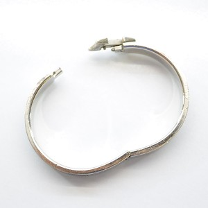 Hermes Silver Tone Metal Grey Enamel Bangle