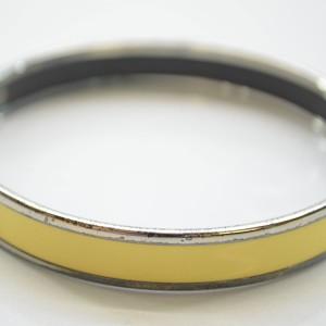 Hermes Silver Tone Metal Yellow Enamel Bangle