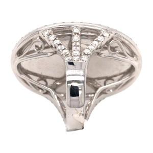 18k White Gold Hand Carve Blue Topaz and Diamond Ring