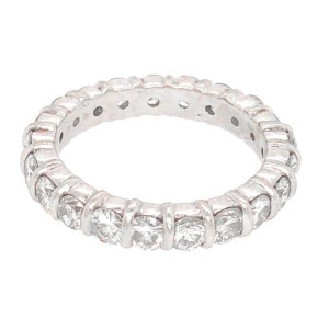 14k White Gold Bar-Set Diamond Eternity Band Ring