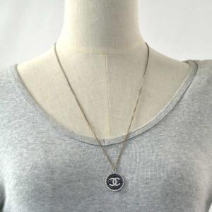 Chanel Silver Tone Logo Necklace