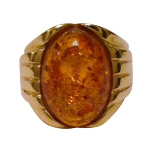 Ross Simons 18K Yellow Gold and Amber Ring Size 5