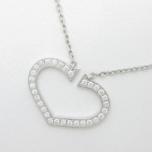 Cartier 18K White Gold C Heart Large Necklace