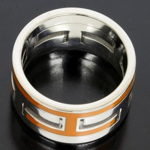 Hermes H Moveable 925 Sterling Silver Orange Puzzle Ring
