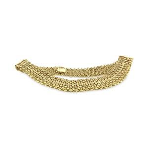 "Elegant 18K Yellow Gold Diamond Wide Necklace Length: 17"""