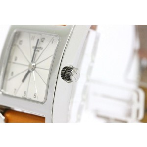 Hermes H Stainless Steel & Leather Strap Quartz Womens Watch
