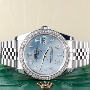 Rolex Datejust 116200 36mm 2.0ct Diamond Bezel/Sky Blue MOP Diamond Arabic Dial Steel Watch