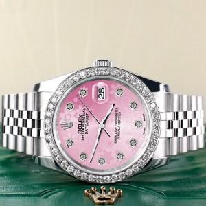 Rolex Datejust 116200 36mm 1.85ct Diamond Bezel/Pink Flower Diamond Dial Steel Watch