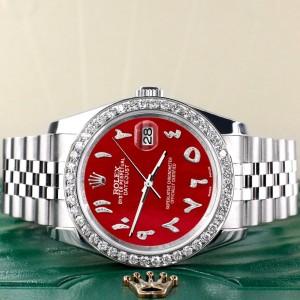 Rolex Datejust 116200 36mm 2.0ct Diamond Bezel/Red MOP Diamond Arabic Dial Steel Watch