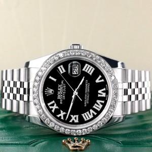 Rolex Datejust 116200 36mm 2.0ct Diamond Bezel/Black Diamond Roman Dial Steel Watch