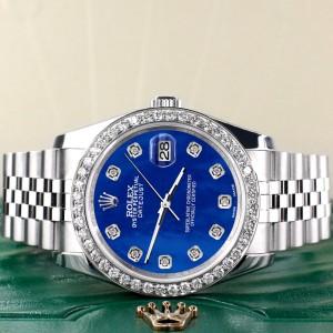 Rolex Datejust 116200 36mm 1.85ct Diamond Bezel/Royal Blue MOP Diamond Dial Steel Watch