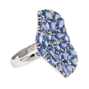 18k White Gold Wavy Circle Sapphire and Diamond Ring