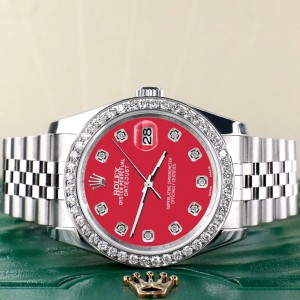 Rolex Datejust 116200 36mm 1.85ct Diamond Bezel/Scarlet Red Diamond Dial Steel Watch
