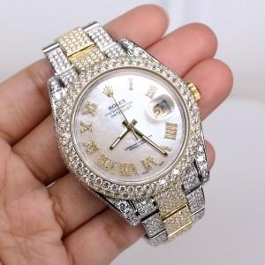 Rolex Datejust II 41mm 2-Tone Oyster 15.8ct Diamond Watch/Diamond Roman Numerals/Box/Papers 116333