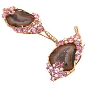 18k Rose Gold Druzy Gem, Pink Sapphire and Diamond Earrings