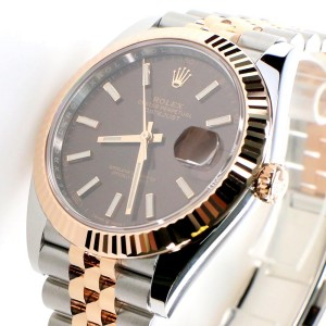 Rolex Datejust 41mm 2-Tone Rose Gold/Steel Jubilee Watch with Chocolate Dial