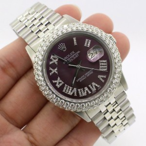 Rolex Datejust 36MM Steel Watch with 4.6Ct Diamond Bezel/Purple Roman Diamond Dial