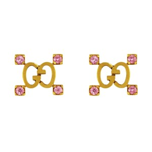 Gucci 18K Yellow Gold With Pink Sapphires Stud Earrings