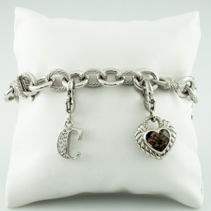 "Judith Ripka 925 Sterling Silver ""Key to my Heart"" with Smoky Quartz Charm Bracelet"