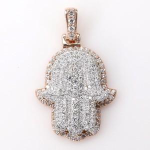 2-Tone 14K Rose Gold/White Gold 2.1ct Diamond Hamsa Pendant