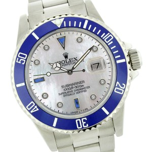 Rolex Submariner 16610 Stainless Steel & White Mother Of Pearl Dial 40mm Mens Watch