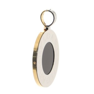 Bvlgari Bvlgari Reversible Circle Pendant Necklace 18K Yellow Gold and Stainless Steel with Onyx