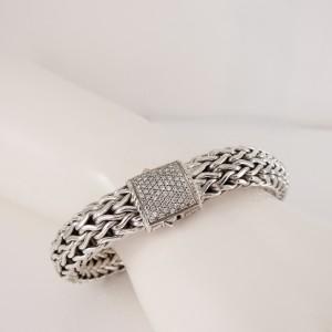 John Hardy Sterling Silver 18K White Gold .62tcw 10.5mm Classic Chain Diamond Bracelet