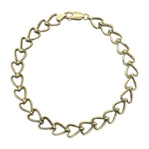 14K Yellow Gold Diamond Cut Heart Link Bracelet