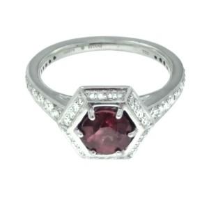Ritani 18k White Gold Garnet .44ctw Diamond Ring Size 6.5